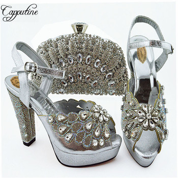 Capputine Hot New Summer Crystal Woman Shoes And Bag Set Italian Fashion Woman High Heels Shoes And Bags For Party 8Colors