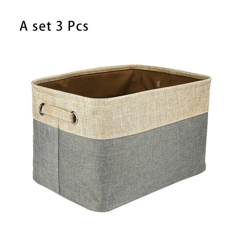 Large Storage Baskets Rectangular Fabric Collapsible Organizer Bins Box 3-Pack