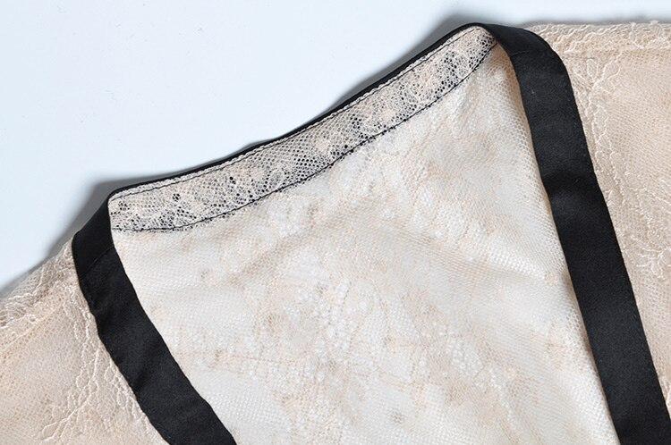 Beige En Vêtements V À Sexy Robe 2019 Garnitures Ligne De Femmes Dentelle Noir Sheer Sash Maxi Longues Manches Mode Ceinture Col Wrap Une qwAgx56