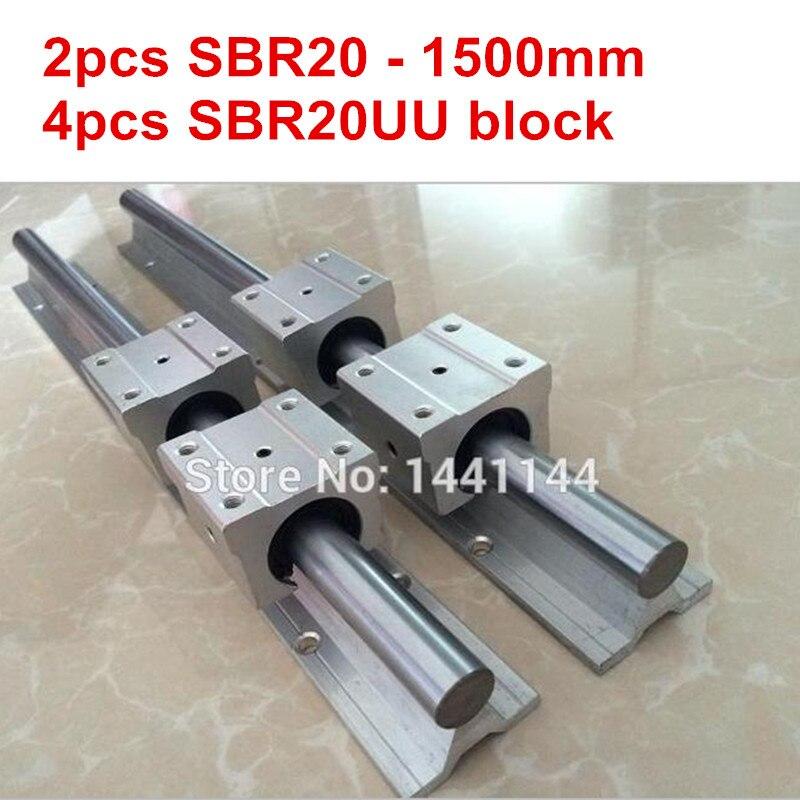 SBR20 linear guide rail 2pcs SBR20 1500mm linear guide 4pcs SBR20UU block for cnc parts