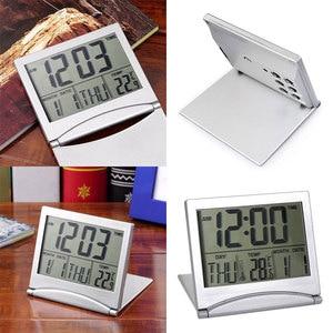 Image 5 - Мини складной LCD цифровой будильник стол Метеостанция стол Температура портативный дорожный будильник часы