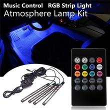 4 шт. 9 светодио дный Атмосфера декоративные лампы Комплект гибкая USB салона RGB Светодиодные ленты свет авто музыка дистанционного Управление DC12V