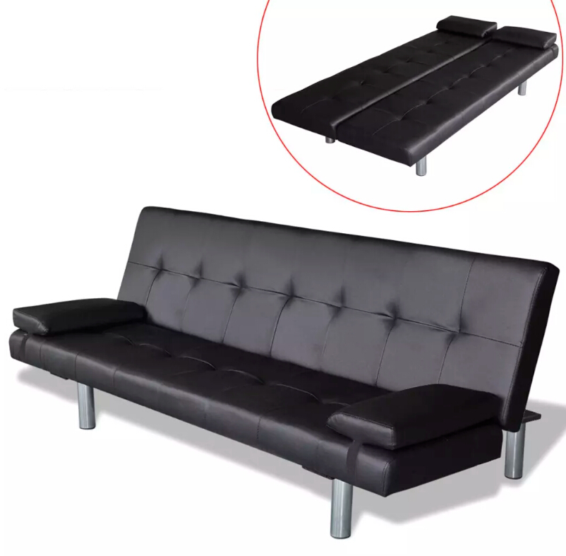 VidaXL Adjustable Sofa Bed With Two Pillows Black Synthetic Leather And Wooden Frame Living Room Furniture Sofa L-Shaped image