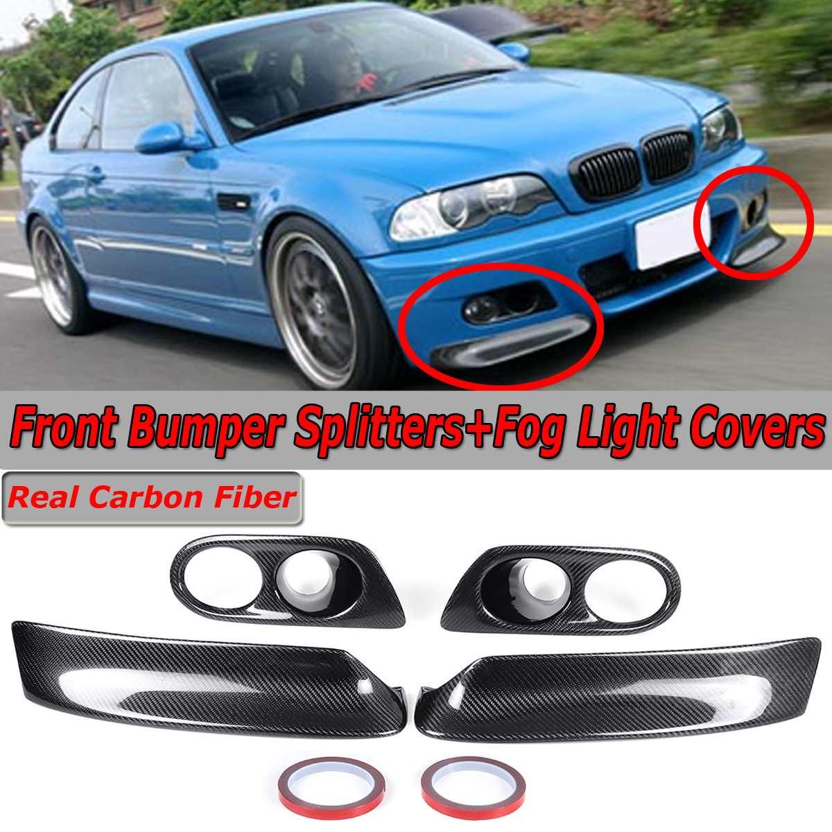 Véritable séparateur de lèvre de pare-chocs avant de voiture en Fiber de carbone + couvercle d'antibrouillard pour BMW E46 M3 2001-2006 couvercle de pare-chocs avant de Style CSL