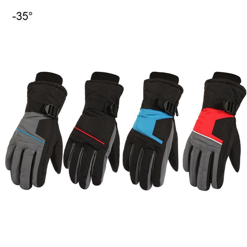 Зимние Для мужчин лыжные Утепленные перчатки анти-скольжения для велосипедистов с защитой от ветра для мальчиков и девочек штормовки-Водон...
