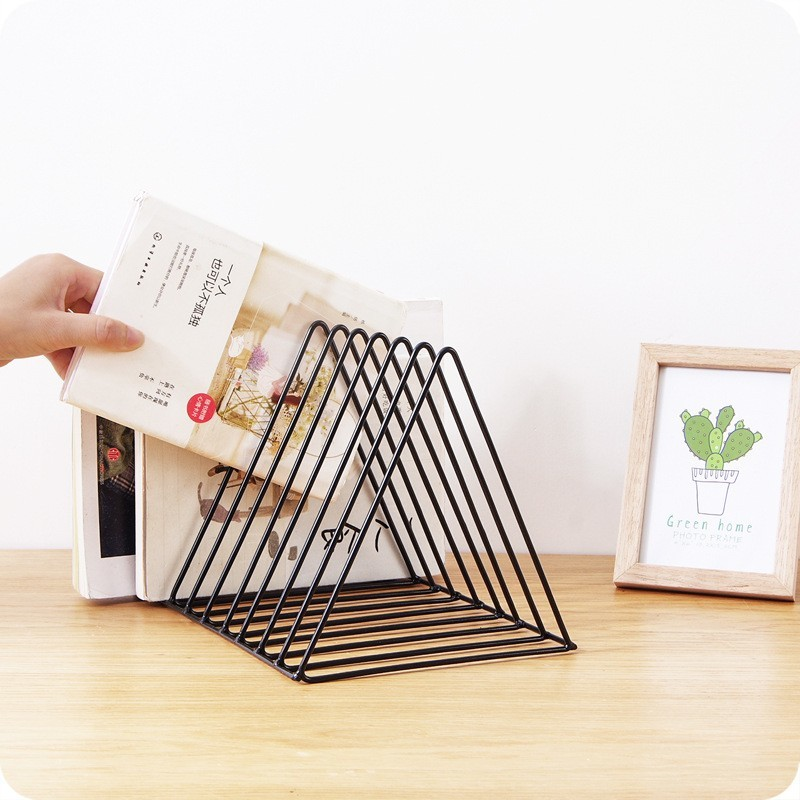 Modern Desktop Book Storage Shelf Metal Iron Bookshelf Magazine Display Stand Office Decoration Bookshelf Bookend Gift