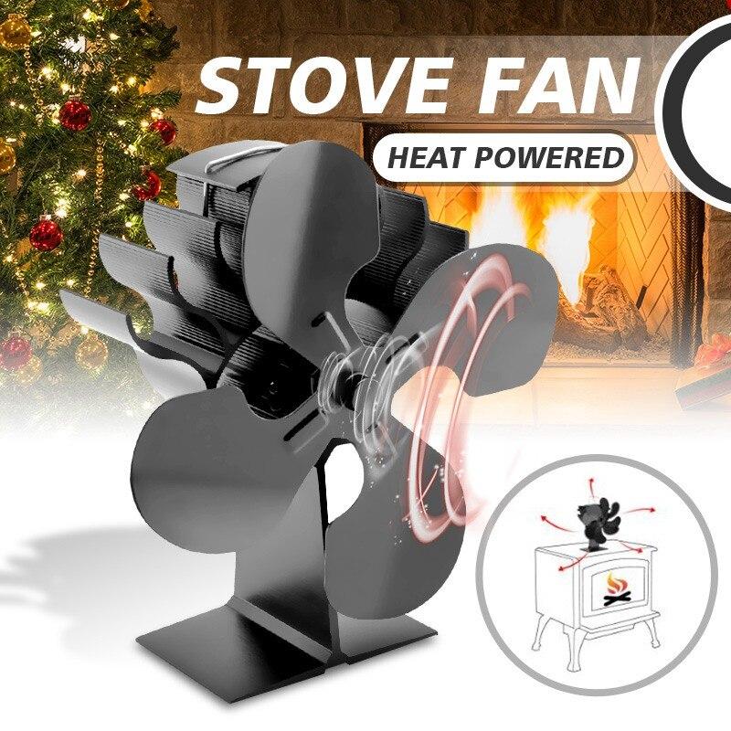 Воздушный поток 4 лезвия Тепловая печь вентилятор дровяная горелка камин тихий вентилятор печки Эко Плита Верхний вентилятор