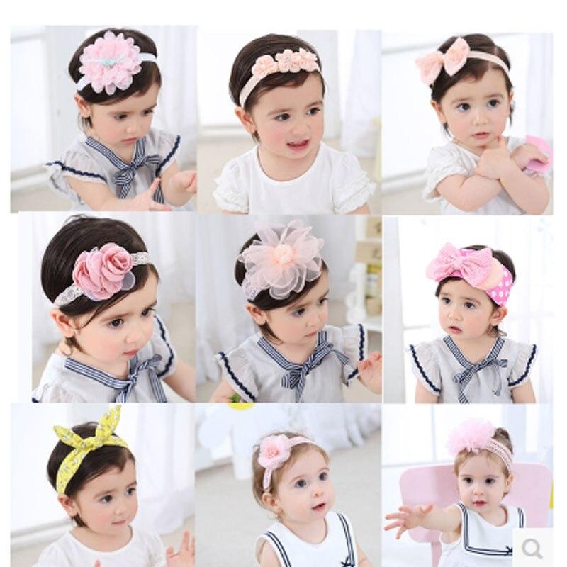 Baby Headband Flower Lace Hair Accessories Unique Girl Comfortable Pearl Adjustable Headband Kid Party Children Elastic Headwear