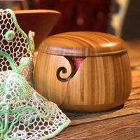 Eco friendly Wooden Wool Bowl Organizer for Knitting Crocheting Dust Bowl Bamboo Wool Storage Bowl