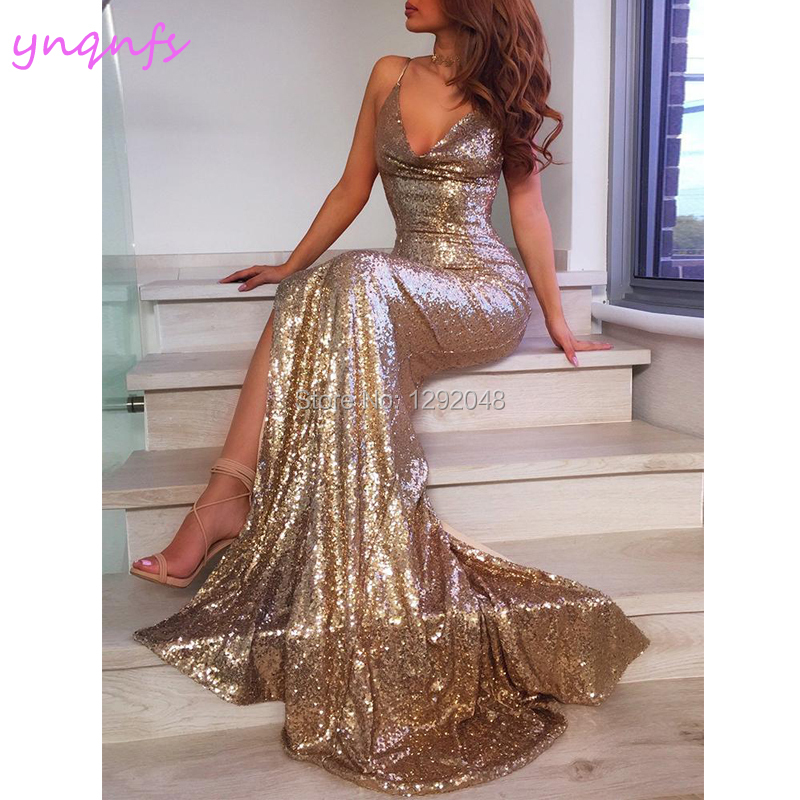 Competent Ynqnfs P61 Sexy Formele Jurk Hoge Been Slit Gold Sequin Prom Dresses 2019