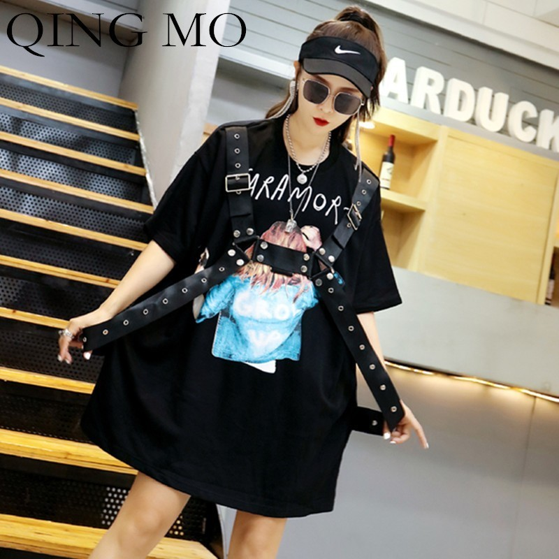 QING MO Printing T Shirt Dress Women Black Short Sleeve Dress Long Tee Shirt with Rivet Women Plus Size Dress with Belt QF731