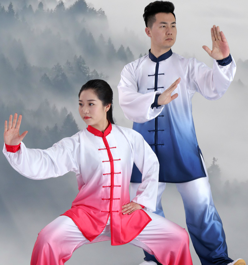 Tai Chi Uniform Gradual Change Color  Quick Dry Kung Fu Clothing Unisex Wu Shu Clothing 6 Colors