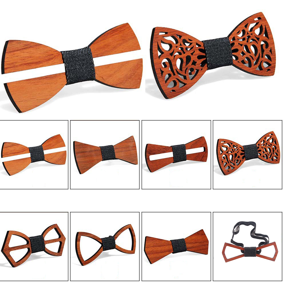 Creative Men Wood Bow Ties Fashion Handmade Butterfly Ties Wedding Party Clothes Accessories Retro 8 Styles Elegant Hollow 2019