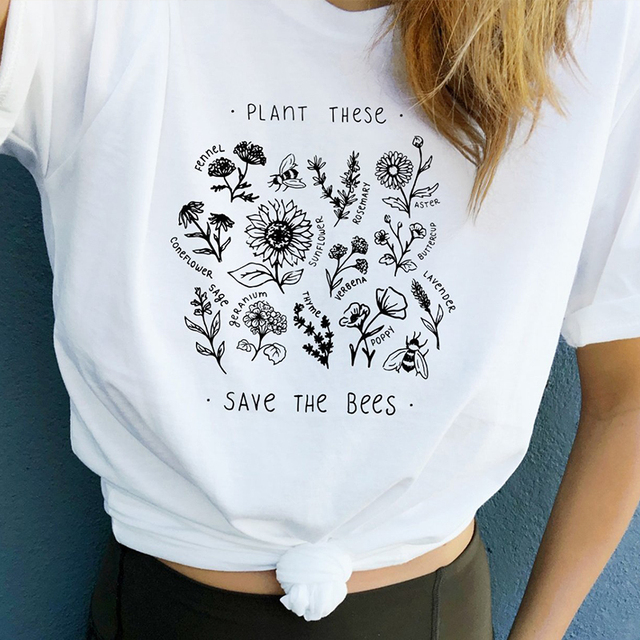 4bfb1b7422a6 Plant These T Shirt Women Floral Print Tee Save The Bees Yellow Cotton Plus  Size Tops Plant More Trees Tumblr Tops Drop Shipping