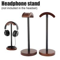 Headphone Stand DIY Stylish Walnut Color Solid Wooden Earphone Rack Aluminum Supporting Bar Flexible Headset Earbud Holder