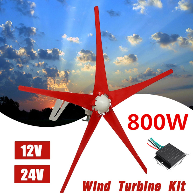 Wind Generator+Controller 800W 12V 24V 5 Nylon Fiber Blade Horizontal Home Wind Turbines Power Energy Turbines ChargeWind Generator+Controller 800W 12V 24V 5 Nylon Fiber Blade Horizontal Home Wind Turbines Power Energy Turbines Charge