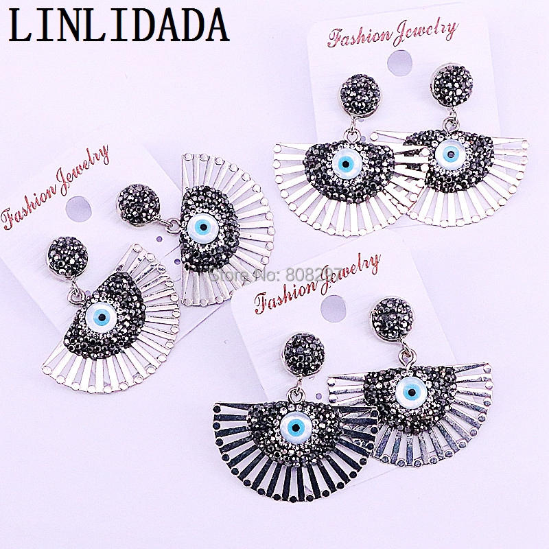 5Pairs Fashion Simple style fan shape rhinestone paved Metal Dangle Earrings women jewelry gift