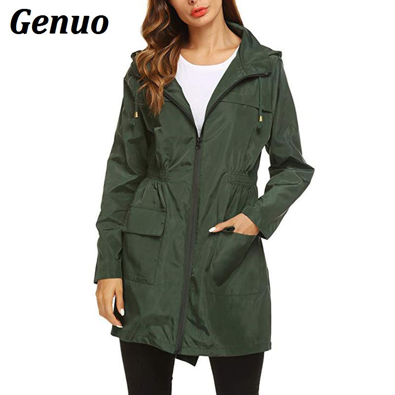 Genuo Women Casual   Trench   Coats Solid Color Long Sleeved Pockets Zipper Hooded   Trench   Overcoat Women Windvreaker Waterproof Coat