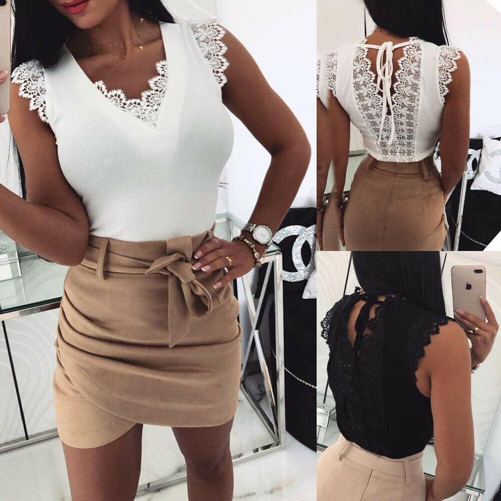 Women Sexy Vest Lace   Tops   2019 New Fashion Ladies Casual Camisole   Tank   Sleeveless V-Neck Solid Slim T-Shirt   Tops   Hot