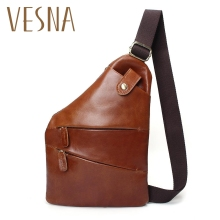 Men Genuine Leather Sling Casual Bag Messenger Anti Theft Oblique Cross Chest Bag Pack Single Shoulder Pack With Magnetic Buckle sinpaid anti theft messenger bag crossbody casual designer shoulder bag anti theft zipper and buckle color black blue