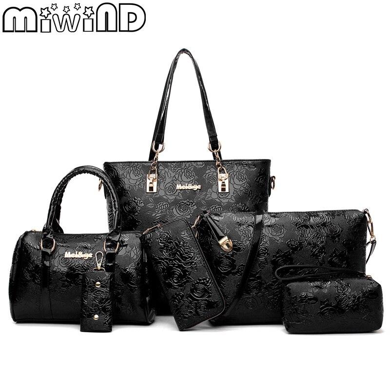 Для женщин Сумки мода сумка женская сумка Высокое качество 6 частей комплект известный дизайнер бренда Bolsa Feminina