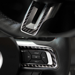 Image 2 - Per Ford Mustang 2015 2016 2017 3pcs In Fibra di Carbonio Interni Auto Volante Pulsante Striscia Della Decorazione Della Copertura
