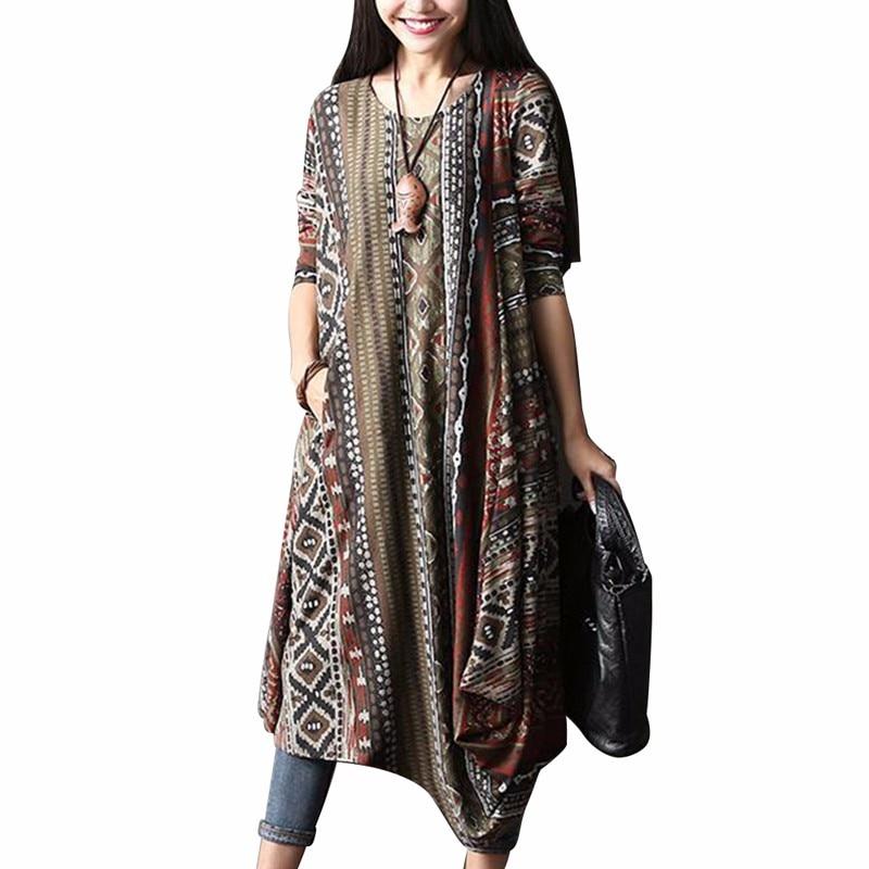 Asymmetric Hem Dress Women ZANZEA Autumn Floral Print O Neck Long Sleeve Retro Midi Dress Leisure Kaftan Vestido Plus Size 5xl