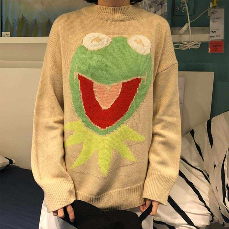 Suéter de dibujos animados NiceMix Harajuku pulóveres informales para mujer otoño cuello redondo divertido Rana jerseys coreano Streetwear Pull Hiver mujer 2019