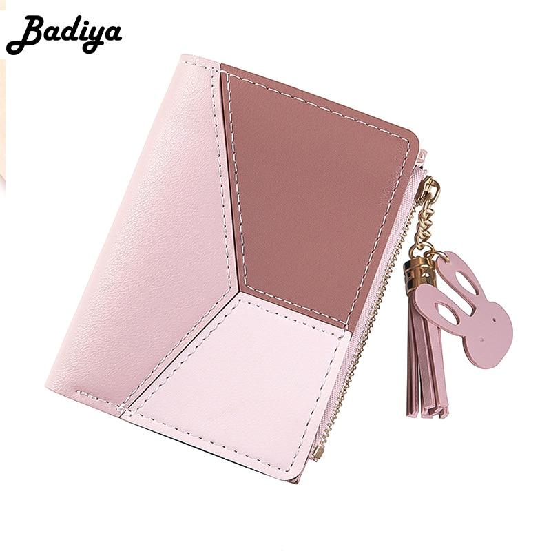 Patchwork Tassel Women Short Wallet New Design Zipper Coin Purse Casual Brief Card Holder For Lady Pocket Fresh Girl Clutch Bag
