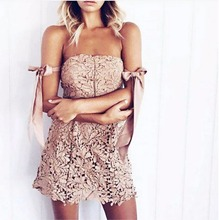 Rebicoo 2018 sexy woman slash neck lace dresses ribbon off the shoulder lace retro sheath pink summer dress vintage vestido light pink off the shoulder lace mini dress