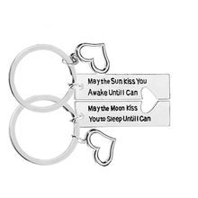 2PCS Valentines Day Couple New Creative Letters Sun Moon Love Heart Stitching Keychain Pendant Party Gift For
