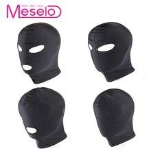 Meselo Open Eyes Mouth Bdsm Bondage Sex Game Bdsm Fetish Mask Hood Slave Headgear Mask Adult Sex Toys For Couples Erotic Product