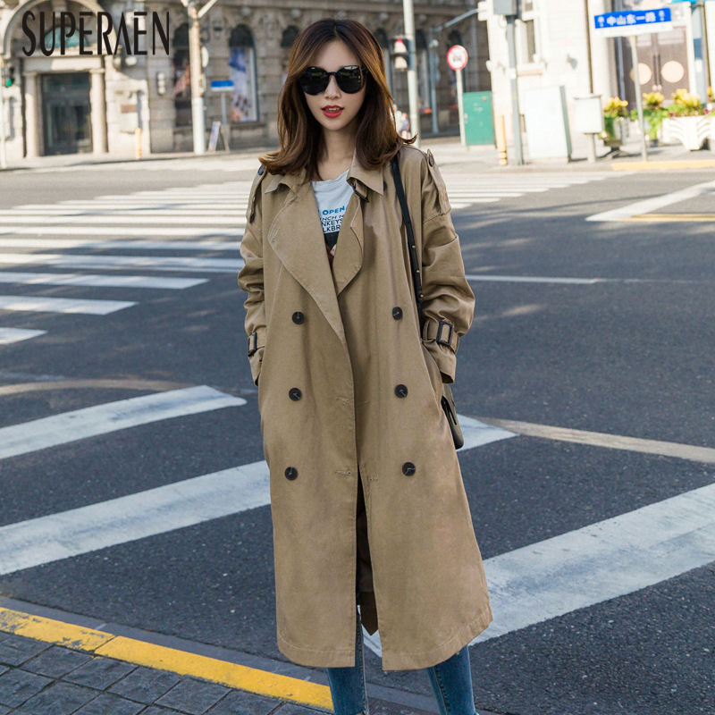 SuperAen Windbreaker Female 2019 New Korean Style   Trench   Coat for Women Double-breasted Solid Color Spring and Autumn