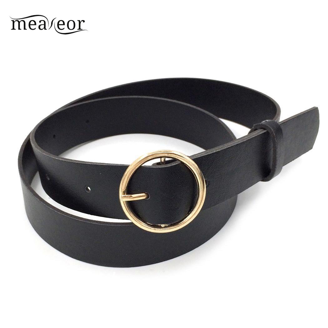Meaneor Fashion Women   Belt   Solid Round Shape Buckle Waist   Belt   Casual Leather   Belts   for Men Women Strap Brand Classic   Belt