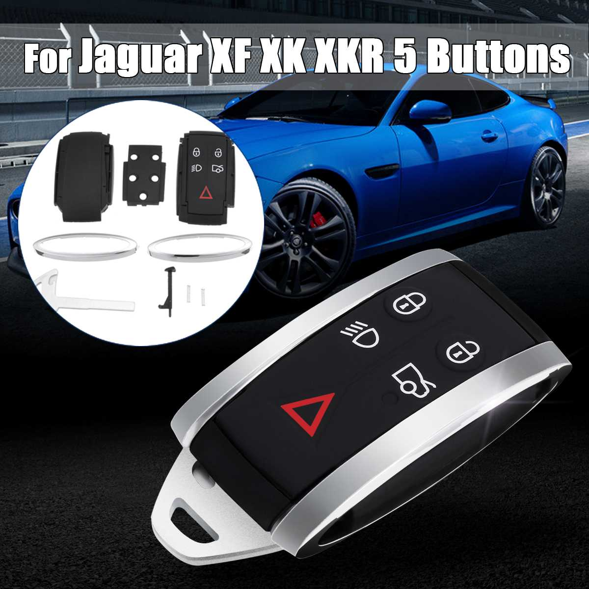 NEW JAGUAR S-TYPE X-TYPE XKR XK XF  REMOTE CONTROL KEY FOB CASE 5 BUTTONS