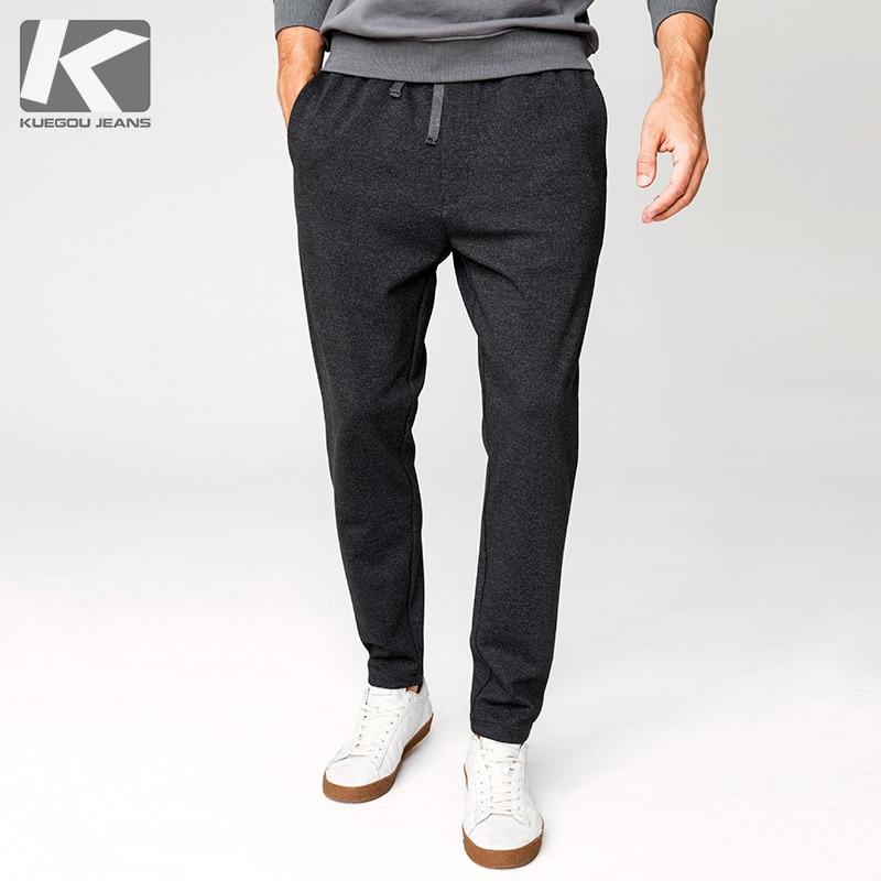 Autumn Men Casual Track Pants Black Drak Grey Color Pocket For Man Fashion Joggers Sweatpants 2018 Male Wear Long Trousers 1927