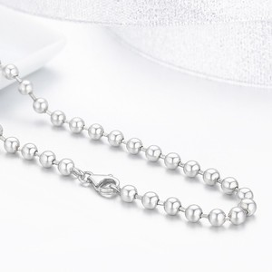 Image 3 - 50 centímetros 925 Sterling Silver Rodada Bead Cadeia Colar Mulheres Homens Jóias collier collares off white ketting kolye 4mm