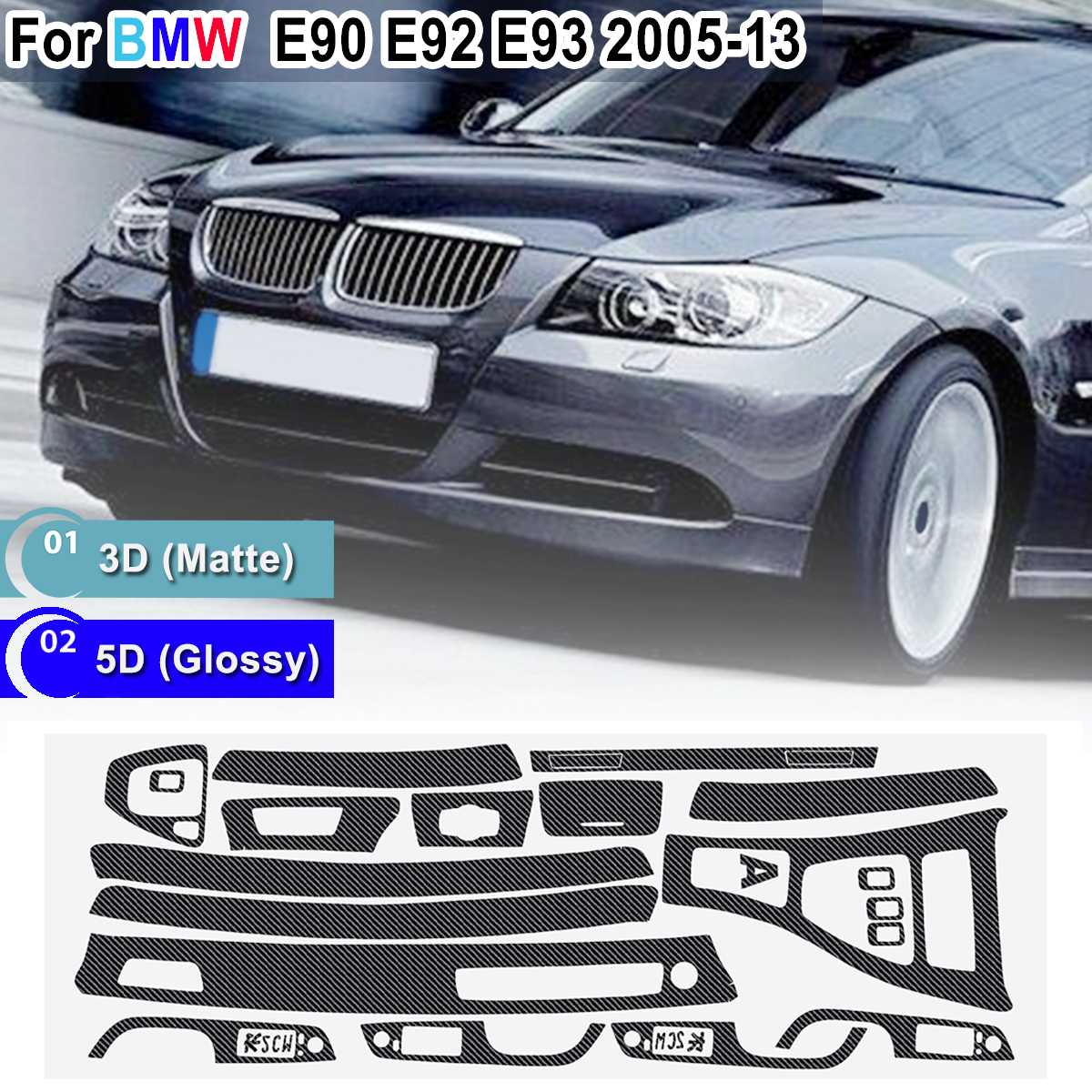 15pcs Only RHD 5D Glossy/ 3D Matte Carbon Fiber Style Sticker Vinyl Decal Trim For BMW E90 E92 E93 2005-2013