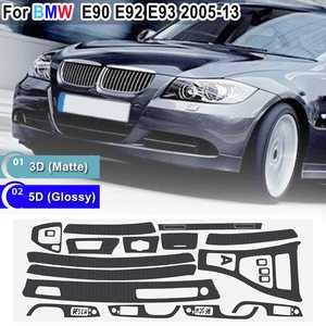 Image 1 - 15pcs Only RHD 5D Glossy/ 3D Matte Carbon Fiber Style Sticker Vinyl Decal Trim For BMW E90 E92 E93 2005 2013