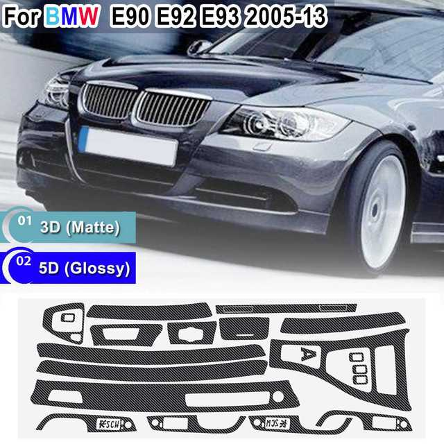 15pcs Only RHD 5D Glossy/ 3D Matte Carbon Fiber Style Sticker Vinyl Decal Trim For BMW E90 E92 E93 2005 2013
