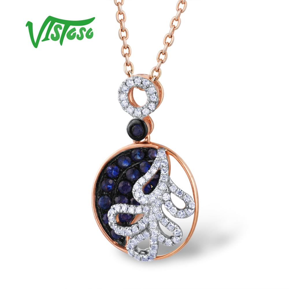 VISTOSO Gold Pendants For Women Authentic 14K 585 Rose Gold Sparkling Blue Sapphire Diamond Luxury Necklace