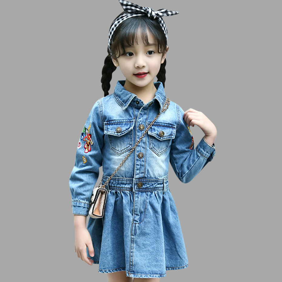 Autumn Denim Dresses For Girls Embroidery Dresses For Kids A Line Kids Dresses Winter Clothing For Girls 6 8 12 Years