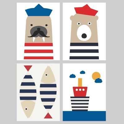Cute Cartoon Fish Ship Wall Art Canvas Posters Animal Nursery Print Nordic Painting Picture Baby Bedroom Decoration Kindergarten