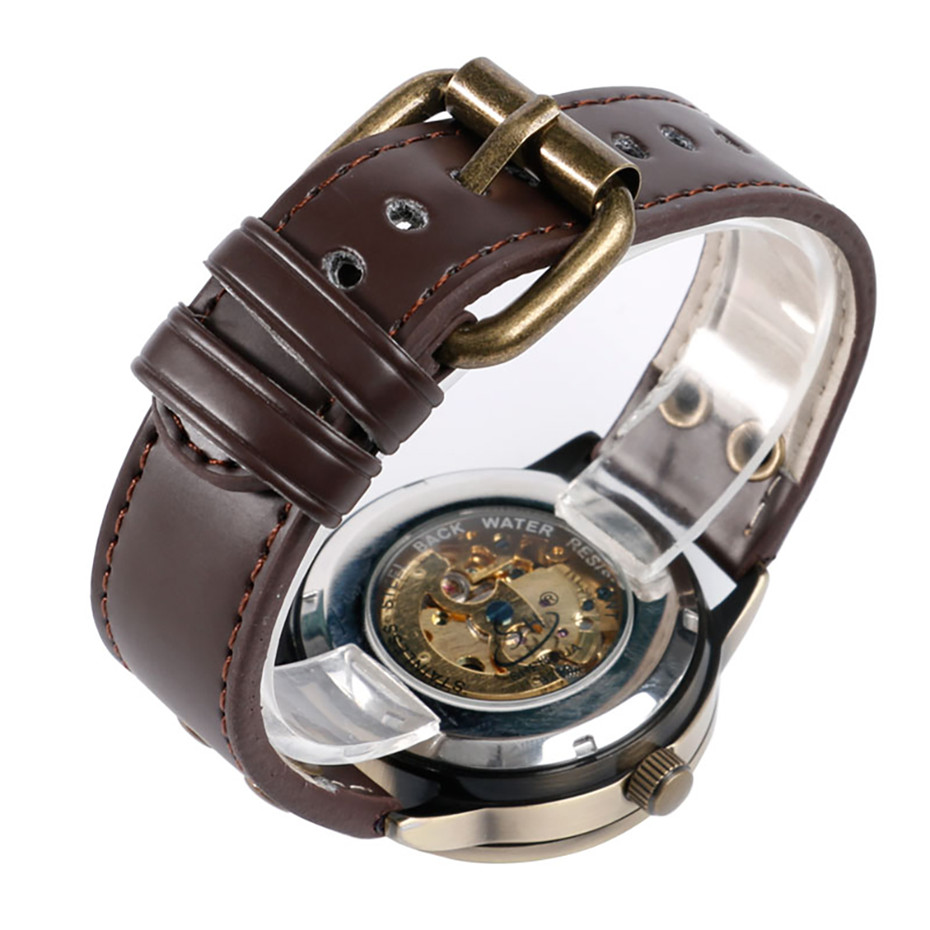 Steampunk Skeleton Mechanical Wristwatch for Men Bronze Metal Automatic Self Wind Men 39 s Wrist Clock with Genuine Leather Strap in Mechanical Watches from Watches