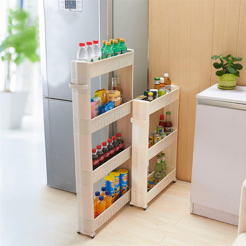 3-Tier Gap Storage Slim Slide Out Storage Tower Rack Shelf with Wheels for Home Kitchen (Ivory)(China)