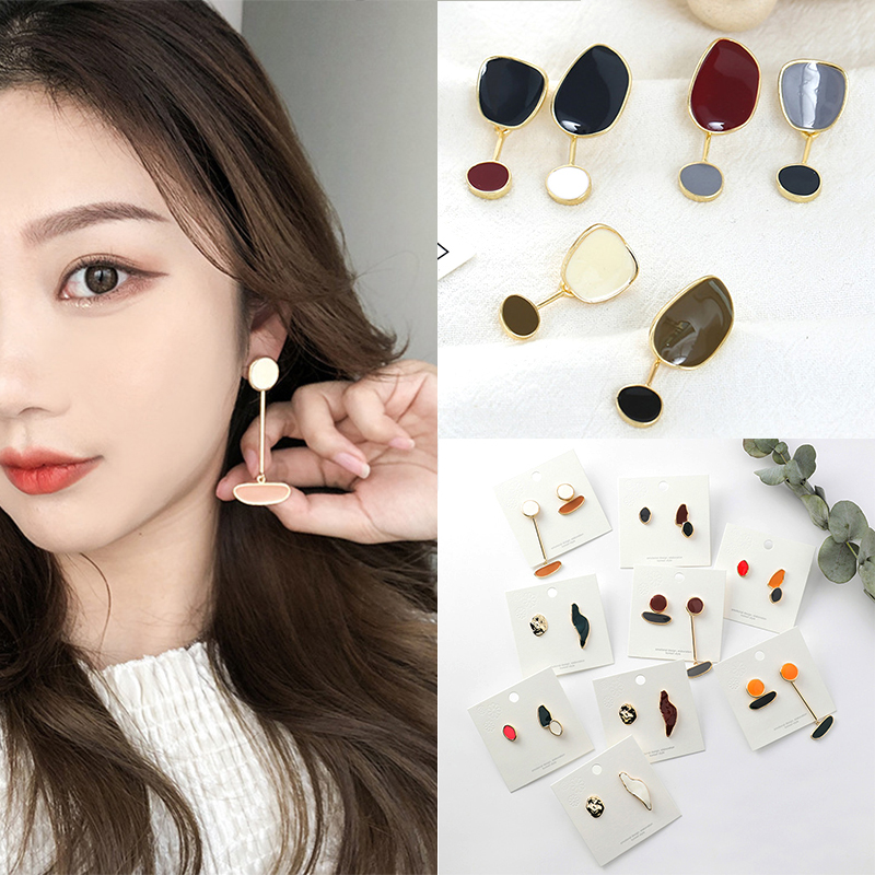 Fashion Geometric Abstract Drop Earrings For Women Irregular Enamel New Design Oval Girls Earrings in Drop Earrings from Jewelry Accessories