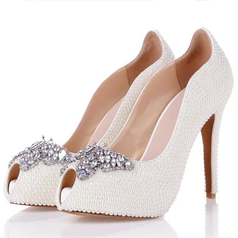 Talons Mariage Strass Peep Femmes White Blanc Plus 2018 Bouche De Printemps Pompes La Hauts Chaussures Soirée Heels 12cm Toe Été Poisson Papillon 42 Taille Perle anvOCAqv
