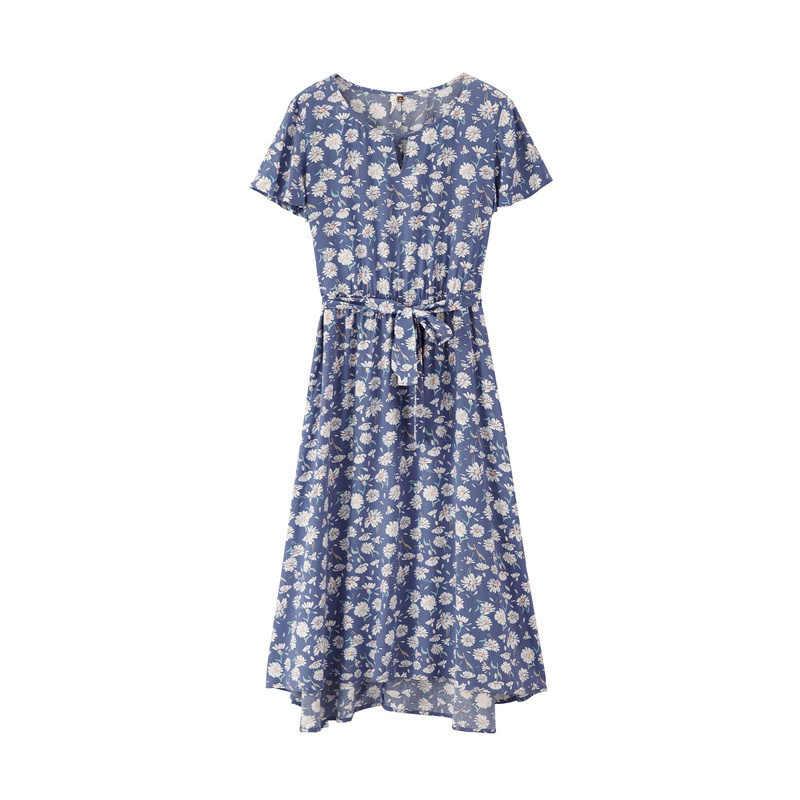 INMAN 2019 Лето Новое поступление О-образным вырезом Короткие рукава-фонарики с поясом ТРАПЕЦИЕВИДНОЕ тонкое женское платье