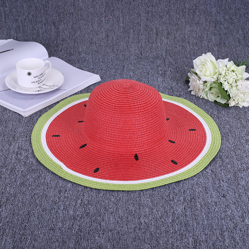 Summer New Pattern Summer Cute Watermelon Wind Brim Leisure Beach Ladies Cap Women Holiday Sun Hat
