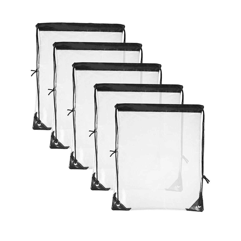 5 Упаковка Прозрачная Сумка на шнурке прозрачные сумки для путешествий Спортивные сумки (черный край)
